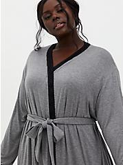 Super Soft Grey Lace Trim Sleep Robe, GREY, alternate