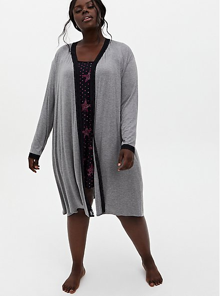 Super Soft Grey Lace Trim Sleep Robe, GREY, alternate
