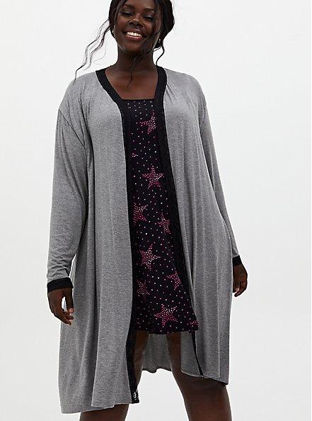 Super Soft Grey Lace Trim Sleep Robe, GREY, hi-res