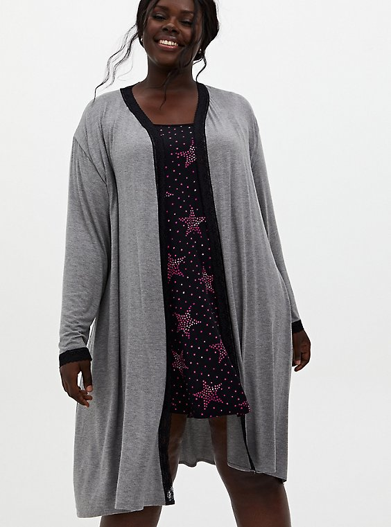 Super Soft Grey Lace Trim Sleep Robe, , hi-res