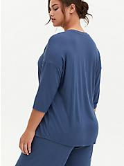Blue Ribbed Dolman Sleep Tee, BLUE, alternate