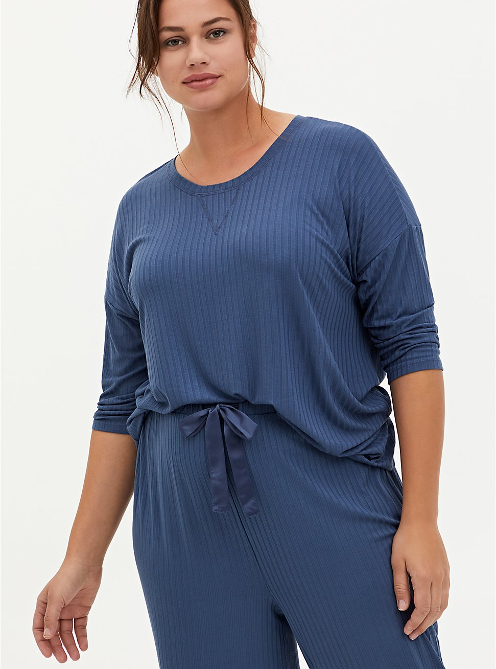 Blue Ribbed Dolman Sleep Tee, BLUE, hi-res