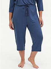 Blue Wide Leg Rib Sleep Pant, BLUE, alternate