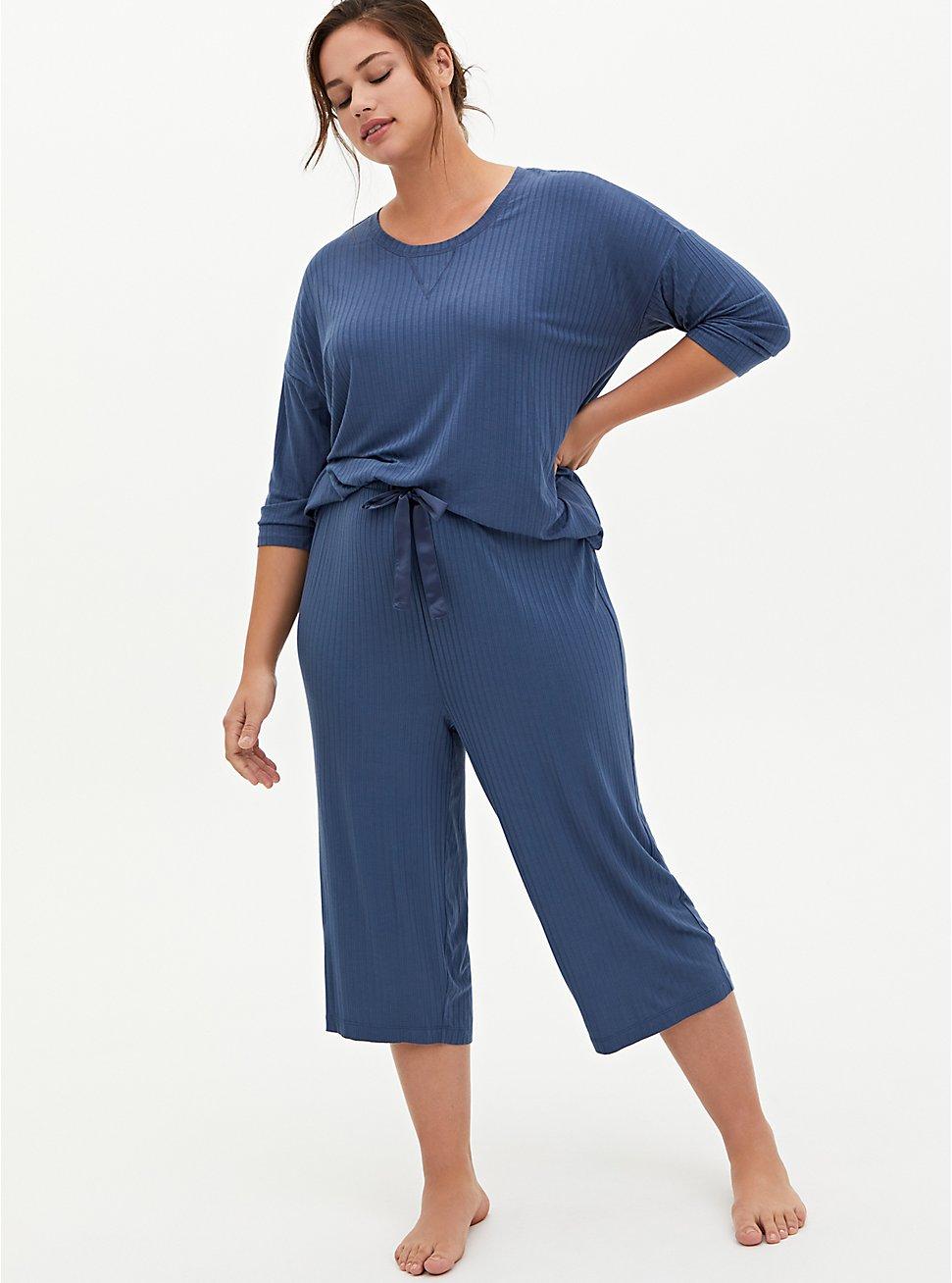 Blue Wide Leg Rib Sleep Pant, BLUE, hi-res