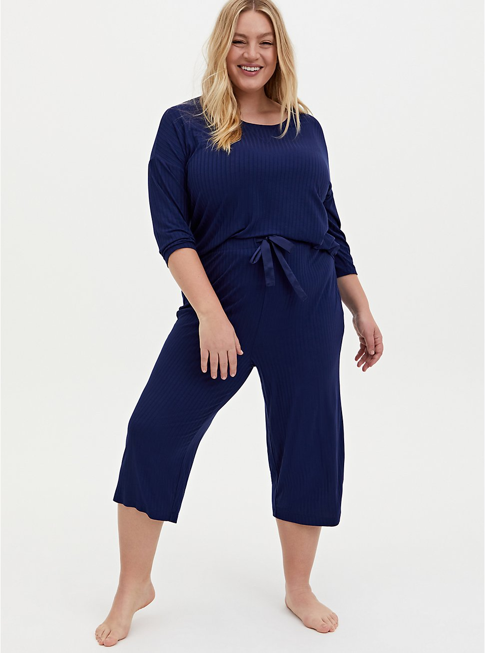 Navy Wide Leg Rib Sleep Pant, NAVY, hi-res
