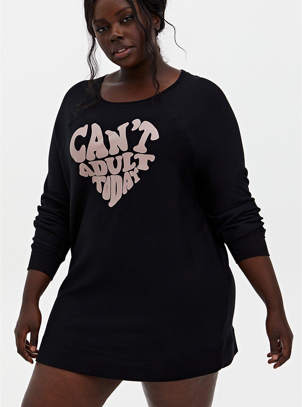 Super Soft Fleece Black Can't Adult Sleep Tunic Sweatshirt, DEEP BLACK, hi-res
