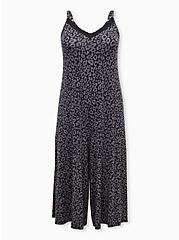 Super Soft Dark Grey Leopard Culotte Sleep Jumpsuit, MULTI, hi-res
