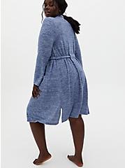 Super Soft Plush Blue Self-Tie Sleep Robe, BLUE, alternate