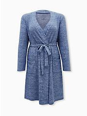 Super Soft Plush Blue Self-Tie Sleep Robe, BLUE, hi-res