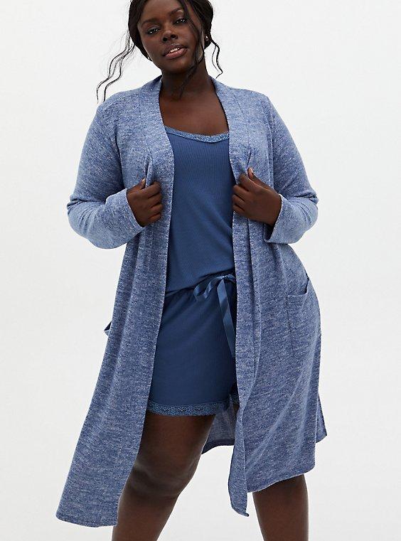 Super Soft Plush Blue Self-Tie Sleep Robe, , hi-res