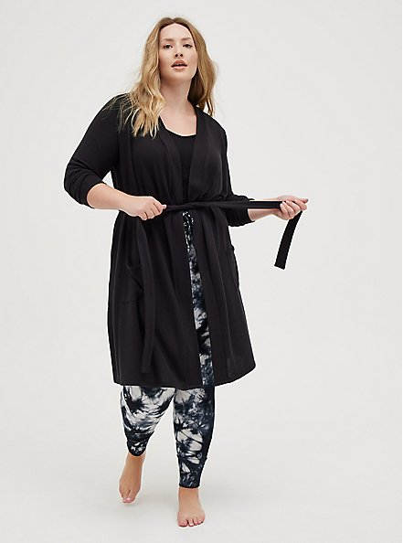 Self-Tie Sleep Robe - Super Soft Plush by Torrid™️, DEEP BLACK, alternate