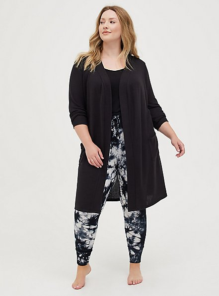 Self-Tie Sleep Robe - Super Soft Plush by Torrid™️, DEEP BLACK, hi-res
