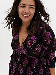 Plus Size Super Soft Black & Purple Floral Surplice Skater Dress, FLORAL - BLACK, alternate