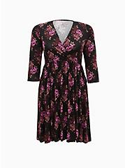 Plus Size Super Soft Black & Purple Floral Surplice Skater Dress, FLORAL - BLACK, hi-res