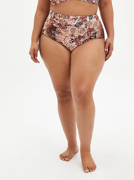 Medallion Print High Waist Ruched Swim Bottom, MULTI, hi-res