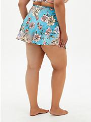 Peach Floral High Waist Skater Swim Skirt, MULTI, alternate