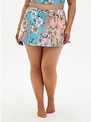 Peach Floral High Waist Skater Swim Skirt, MULTI, hi-res