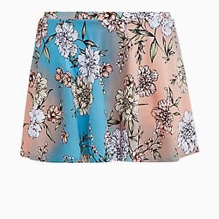 Peach Floral High Waist Skater Swim Skirt