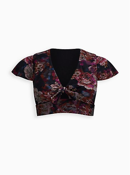 Rose Floral Wireless Swim Top, MULTI, hi-res
