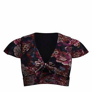 Rose Floral Wireless Swim Top