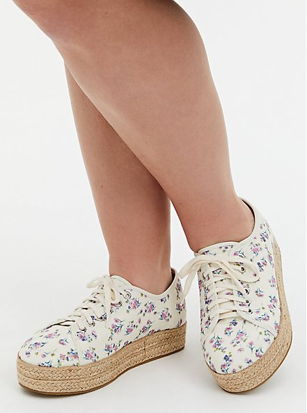 Ivory Floral Canvas Espadrille Sneaker (WW), WHITE, alternate