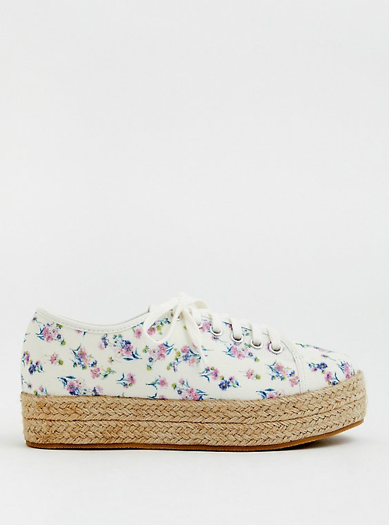 Ivory Floral Canvas Espadrille Sneaker (WW), WHITE, hi-res