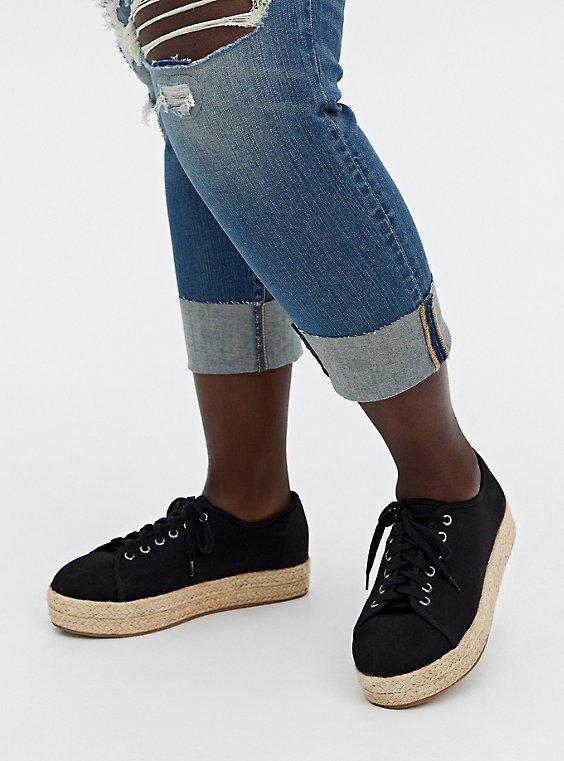 Black Canvas Espadrille Sneaker (WW), , hi-res