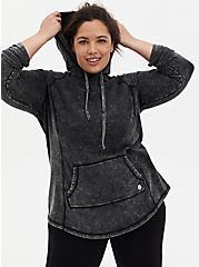 Black Washed Active Tunic Sweatshirt, BLACK, hi-res