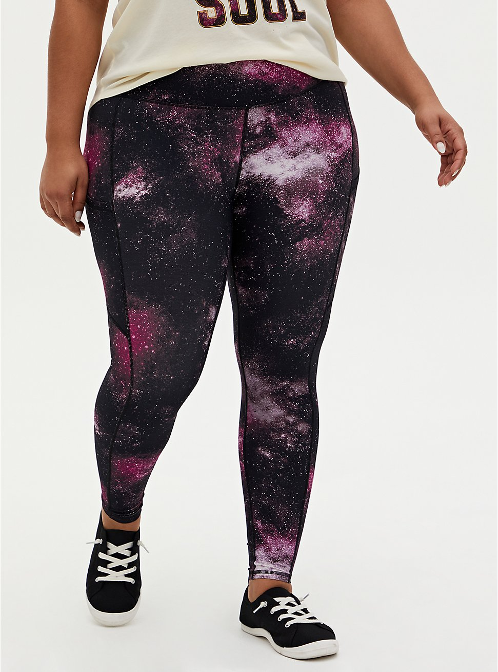 Black & Purple Galaxy Wicking Active Legging with Pockets, GALAXY - PINK, hi-res