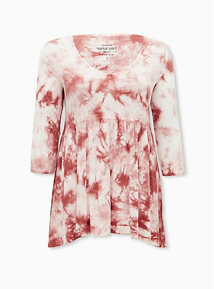 Super Soft Dusty Coral Tie-Dye Babydoll Tunic, , hi-res