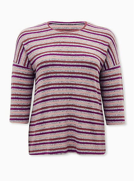 Long Sleeve Crew Tee - Super Soft Plush Stripe Multi , , hi-res