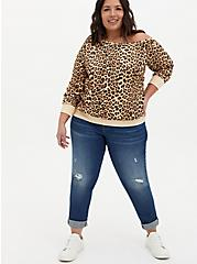 Plus Size Leopard Terry Off Shoulder Sweatshirt , LEOPARD, alternate