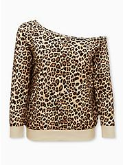 Leopard Terry Off Shoulder Sweatshirt , LEOPARD, hi-res
