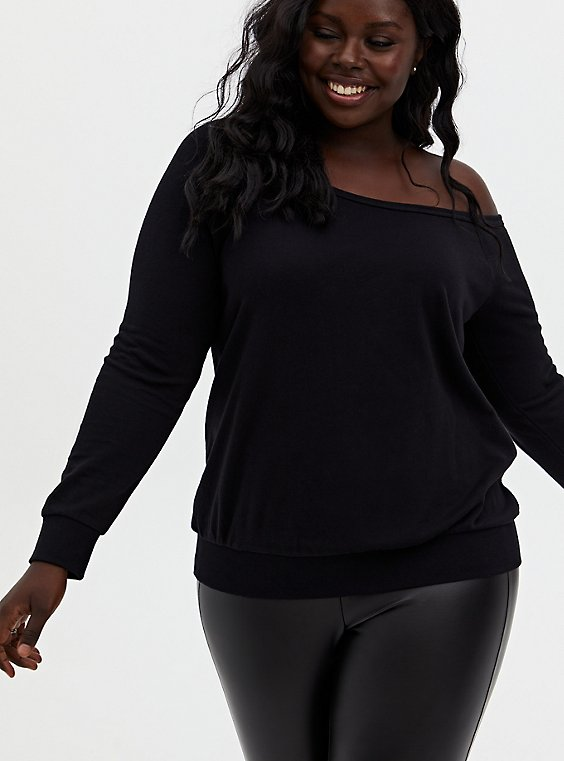 Black Terry Off Shoulder Sweatshirt, DEEP BLACK, hi-res
