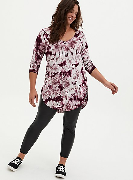 Favorite Tunic - Super Soft Tie-Dye Burgundy Purple , WINETASTING, alternate