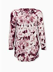 Favorite Tunic - Super Soft Tie-Dye Burgundy Purple , WINETASTING, hi-res