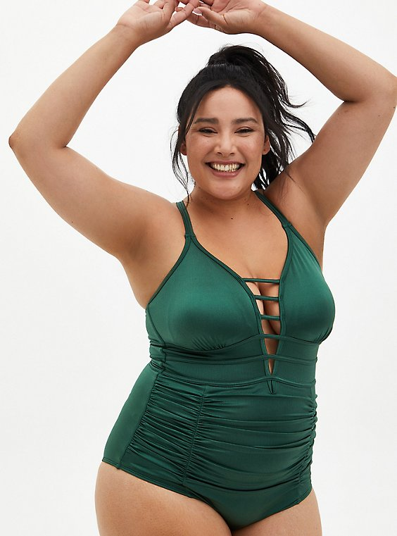 Olive Shine Strappy One-Piece Swimsuit, , hi-res