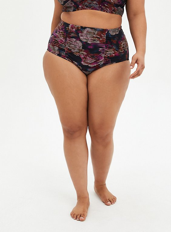 Rose Floral High Waist Ruched Swim Bottom, MULTI, hi-res