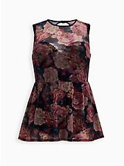 Plus Size Multi Rose Floral Peplum Underwire One-Piece Swimsuit, MULTI, hi-res
