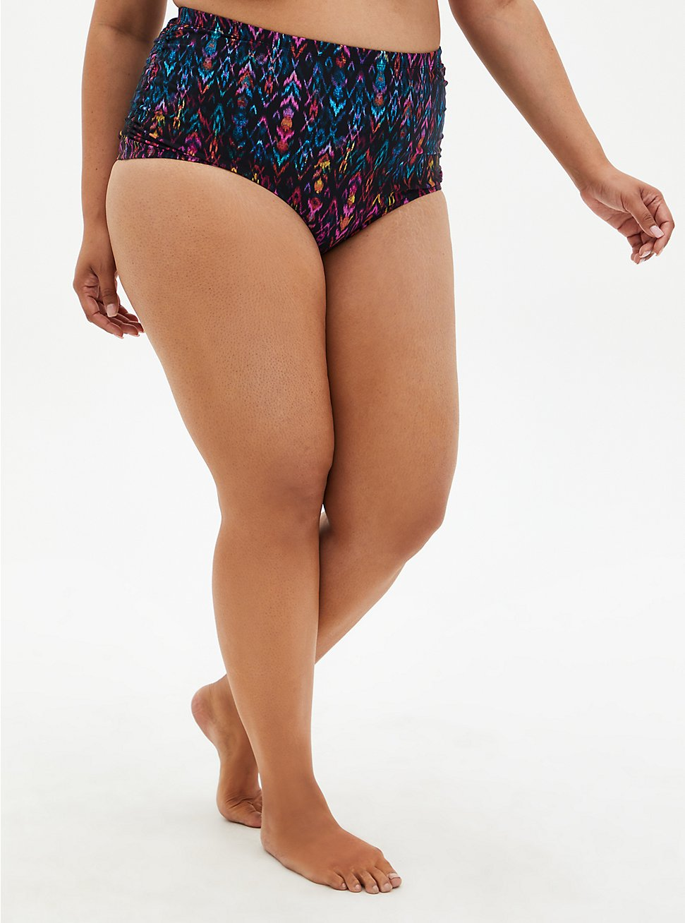 Multi Ikat Print Side Cinch High Waist Swim Bottom, MULTI, hi-res