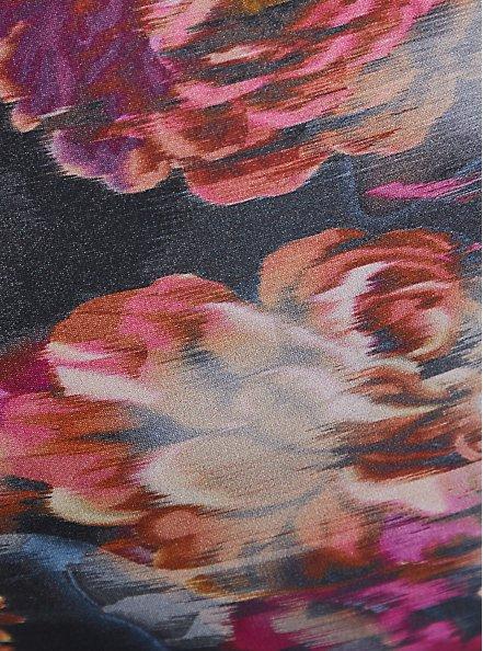Rose Floral Rash Guard Crop Active Swim Top, MULTI, alternate