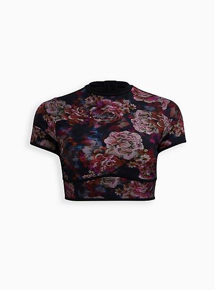 Rose Floral Rash Guard Crop Active Swim Top, MULTI, hi-res