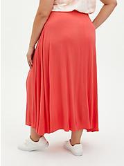 Rust Orange High Slit Maxi Skirt Swim Cover-Up, RED, alternate