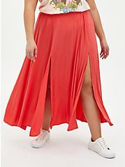 Rust Orange High Slit Maxi Skirt Swim Cover-Up, RED, hi-res