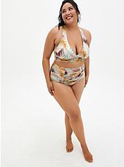 Multi Green Leaf Shine Triangle Bikini Swim Top, MULTI, alternate