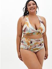 Multi Green Leaf Shine Triangle Bikini Swim Top, MULTI, hi-res