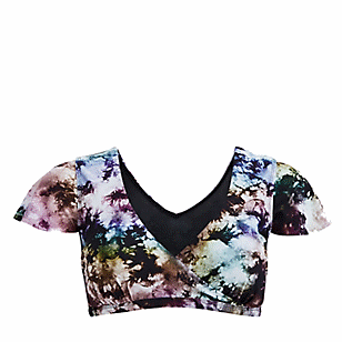 Multi Tie-Dye Short Sleeve Swim Top