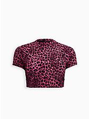Pink Leopard Rash Guard Crop Active Swim Top, MULTI, hi-res
