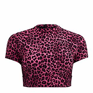 Pink Leopard Rash Guard Crop Active Swim Top