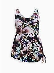 Black Tie-Dye Asymmetrical Tie Swim Dress, MULTI, hi-res